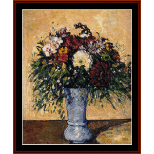 flowers in a blue vase - cezanne cross stitch pattern by cross stitch collectibles