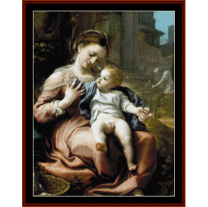 madonna of the basket - correggio cross stitch pattern by cross stitch collectibles
