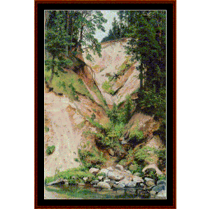 cliff, 1893 - shishkin cross stitch pattern by cross stitch collectibles