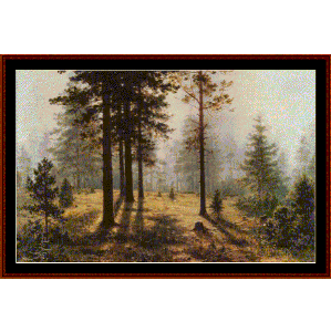 fog in the forest - shishkin cross stitch pattern by cross stitch collectibles