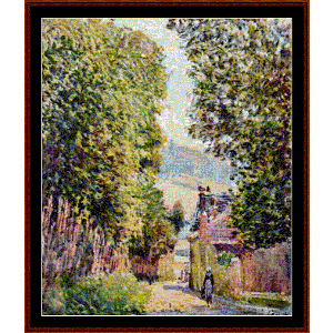 street in louveciennes - sisley cross stitch pattern by cross stitch collectibles
