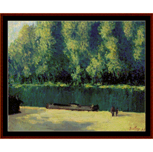 by the loing - sisley cross stitch pattern by cross stitch collectibles