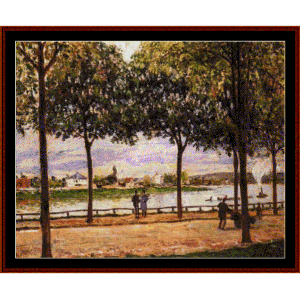 promenade of chestnut trees - sisley cross stitch pattern by cross stitch collectibles