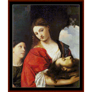 judith w/head of holofernes - titian cross stitch pattern by cross stitch collectibles