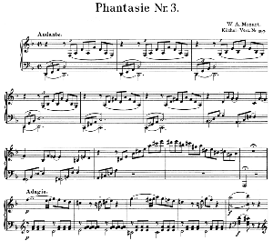 Fantasia No3 K397in D Minor Wa Mozart Ed Breitkopf Urtext Unedited Kalmus Reprint