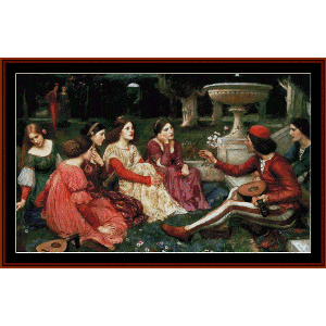 A Tale from the Decameron - Waterhouse cross stitch pattern by Cross Stitch Collectibles | Crafting | Cross-Stitch | Wall Hangings