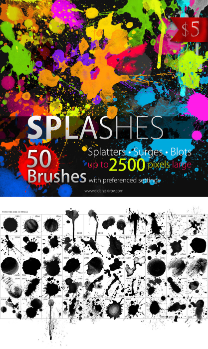 First Additional product image for - 50%off! 50 HQ Splatter Brushes for Photoshop