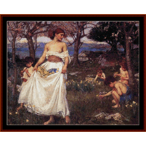 a song of spring, 1913 - waterhouse cross stitch pattern by cross stitch collectibles