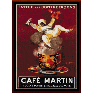 cafe martin - vintage poster cross stitch pattern by cross stitch collectibles