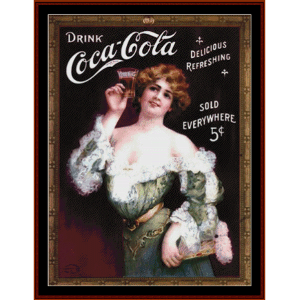 coca cola lady in green - vintage poster cross stitch pattern by cross stitch collectibles
