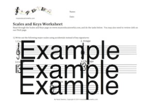 scales and keys worksheet
