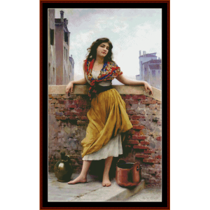 the water carrier - de blass cross stitch pattern by cross stitch collectibles