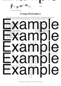 tempo crossword worksheet