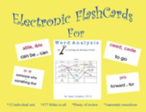 word analysis - flash cards