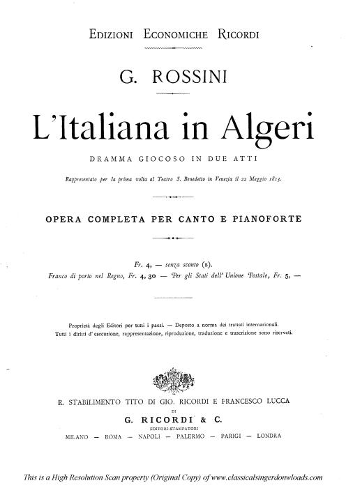 First Additional product image for - Amici...Pensa a la patria. Recitative and Rondo for Mezzo (Isabella). Solo and Chorus. G. Rossini: L'italiana in Algeri. Vocal Score. Ed. Ricordi. 1891 (PD). Italian.
