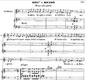 Amici...Pensa a la patria. Recitative and Rondo for Mezzo (Isabella). Solo and Chorus. G. Rossini: L'italiana in Algeri. Vocal Score. Ed. Ricordi. 1891 (PD). Italian. | eBooks | Sheet Music