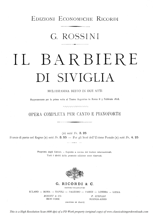 First Additional product image for - Se il mio nome saper bramate. Aria for Tenor (Conte). G. Rossini: Il barbiere di siviglia (The barber of Seville). Vocal Score. Ed. Ricordi, 1869 (PD). Italian.