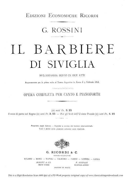 First Additional product image for - Manca un foglio e gia suppongo. Aria for Bass (Bartolo). G. Rossini: Il barbiere di siviglia (The barber of Seville). Vocal Score. Ed. Ricordi. 1869 (PD). Italian.