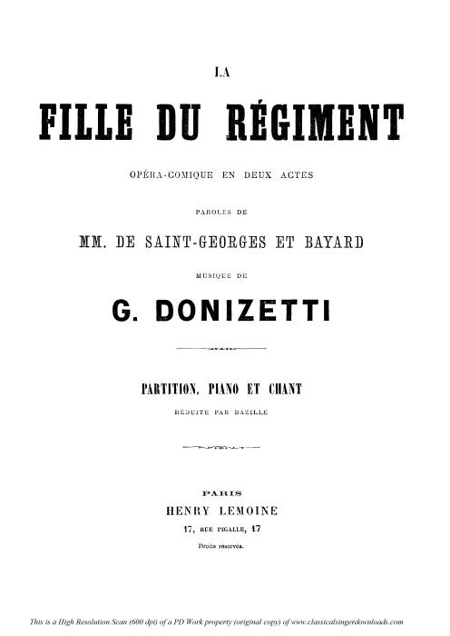 First Additional product image for - C'en est donc fait...Par le rang et par l'opulence: Recitative and Aria for Soprano (Marie). G. Donizetti: La fille du régiment. Vocal Score, Ed. H.Lemoine (1876). French