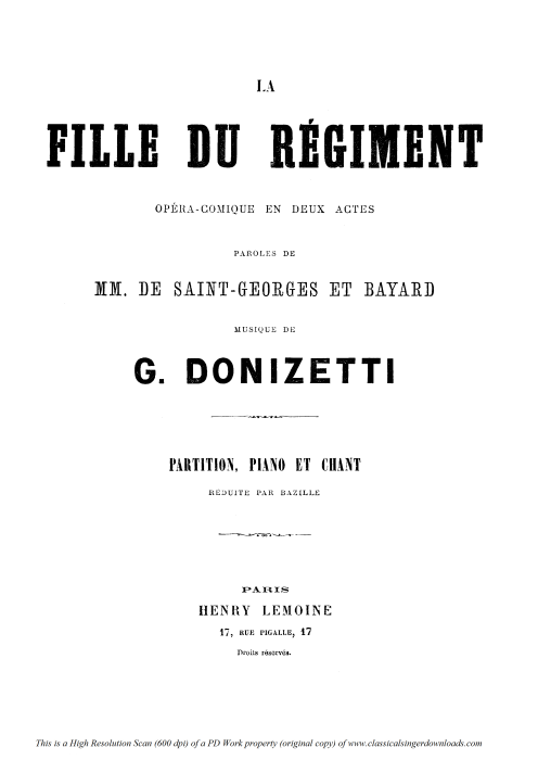 First Additional product image for - Chacun le sait, chacun le dit: Couplets for Soprano (Marie). G. Donizetti: La fille du régiment, Vocal Score, Ed. Ricordi (1876). French.