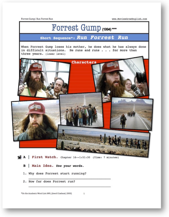 First Additional product image for - Forrest Gump, RUN FORREST RUN, Short-Sequence English (ESL) Lesson