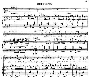 pour une femme de mon nom: couplets for mezzo (la marquise). g. donizetti: la fille du régiment, vocal score, ed. h lemoine (1876). french.