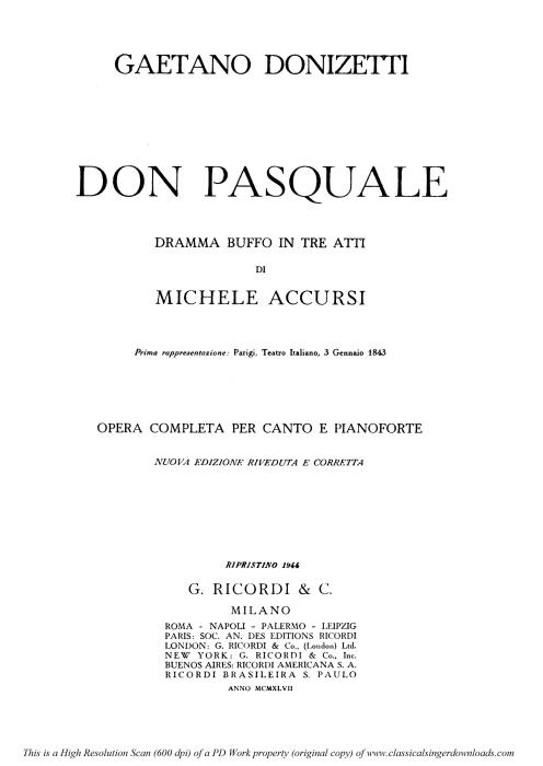First Additional product image for - Com'e gentil la notte a mezzo april: Serenata for Tenor (Ernesto). Solo and Chorus. G. Donizetti: Don Pasquale, Vocal Score, Ed. Ricordi (1870). Italian.