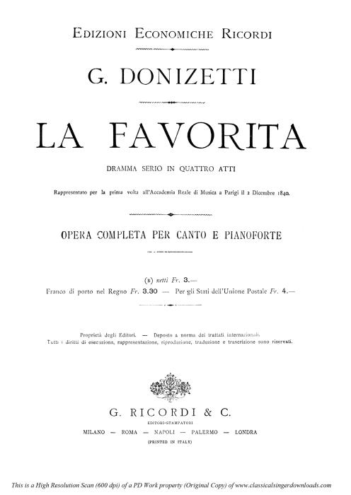 First Additional product image for - Si che un tuo solo accento: Recitative and Aria for Tenor (Fernando). G. Donizetti: La favorita, Act I Sc 2. Vocal Score, Ed. Ricordi (1879). PD. Italian.