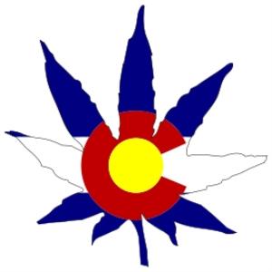 colorado stae flag marijuana leaf
