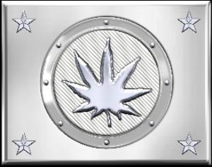 stamped metal marijuana leaf