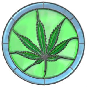 stained glass marijuana leaf