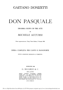 ah, un foco insolito: cavatina for bass (don pasquale). g. donizetti: don pasquale . vocal score, ed. ricordi (1870).pd. italian