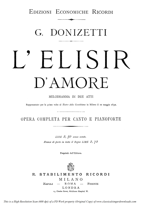 First Additional product image for - Come Paride vezzoso: Cavatina for Bass or Baritone (Belcore) . G. Donizetti: L'elisir d'amore.Vocal Score, Ed. Ricordi (1869). PD. Italian