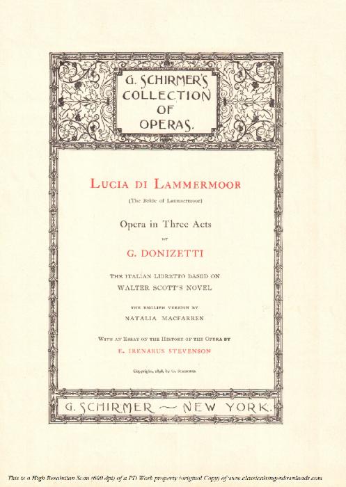 First Additional product image for - La pietade in suo favore: Aria for Baritone (Enrico Ashton)  . G. Donizetti: Lucia di lamermoor, Vocal Score, Ed. Schirmer (1898). PD. Italian/English