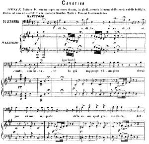 udite, udite, o rustici cavatina for bass (dulcamara). g. donizetti: l'elisir d'amore. vocal score, ed. ricordi (1869). pd. italian