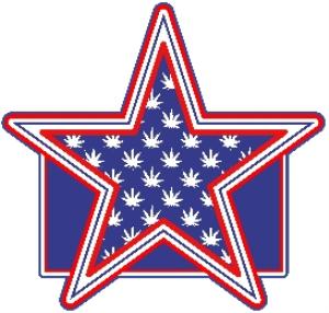 marijuana leaf star