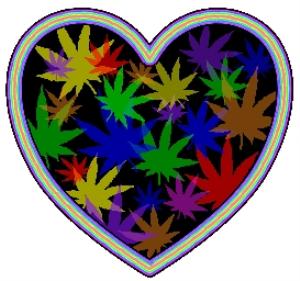 colorful marijuana leaf heart