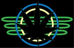 neon marijuana leaf