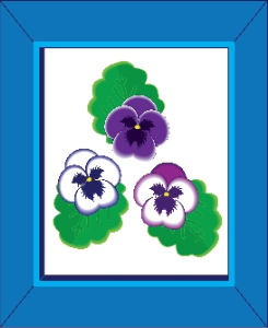 pansies in a blue frame