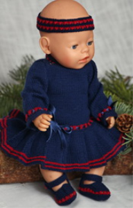 dollknittingpatterns -0121d-annine - jurkje, broekje, haarband en schoentjes (nederlands)