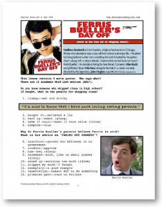ferris bueller's day off, whole-movie english (esl) lesson