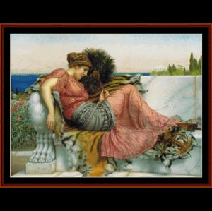 Amaryllis, 1903 - Godward cross stitch pattern by Cross Stitch Collectibles | Crafting | Cross-Stitch | Wall Hangings