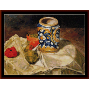 still life with earthenware - cezanne cross stitch pattern by cross stitch collectibles