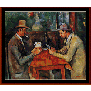 the card players ii - cezanne cross stitch pattern by cross stitch collectibles