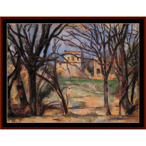 trees and houses - cezanne cross stitch pattern by cross stitch collectibles
