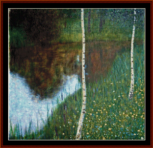 Lakeside with Birch Trees - Klimt cross stitch pattern by Cross Stitch Collectibles | Crafting | Cross-Stitch | Wall Hangings