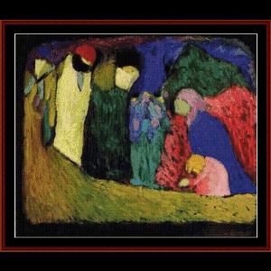 Encounter, 1908 - Kandinskey cross stitch pattern by Cross Stitch Collectibles | Crafting | Cross-Stitch | Wall Hangings