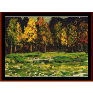forest edge - kandinsky cross stitch pattern by cross stitch collectibles