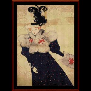 revue blanche - lautrec cross stitch pattern by cross stitch collectibles