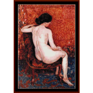 sitting nude on chair - lemmen cross stitch pattern by cross stitch collectibles